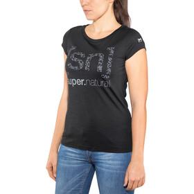 super.natural Graphic Tee 140 Women Jet Black/Logo Arabesque Print